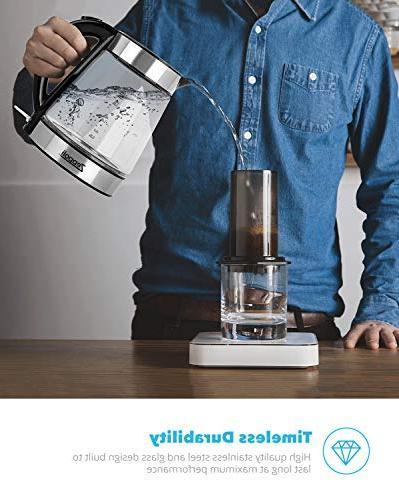 Zeppoli - Glass Tea Boiling and Stainless Steel Finish Water Kettle Hot Water Dispenser Kettle, Pot Water Heater