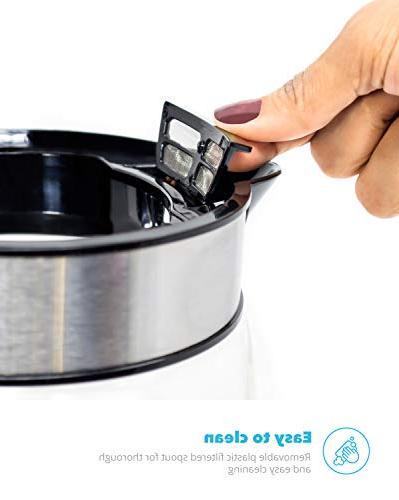 Zeppoli Electric Glass Tea Kettle Boiling and Cordless, Steel Kettle Water Dispenser - Glass Kettle, Tea Pot Heater