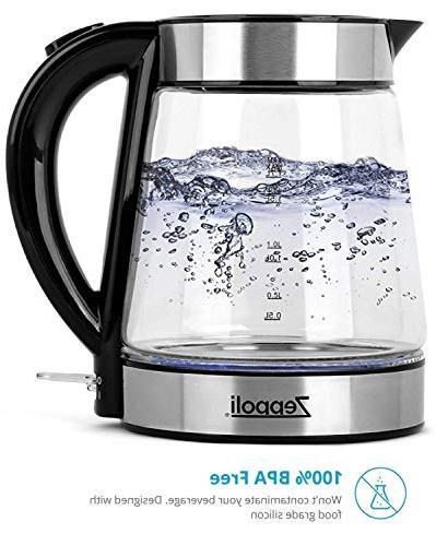 Zeppoli Electric Kettle - Glass Tea Boiling and Cordless, Steel Finish Hot Kettle – Hot Dispenser - Kettle, Tea Water Heater
