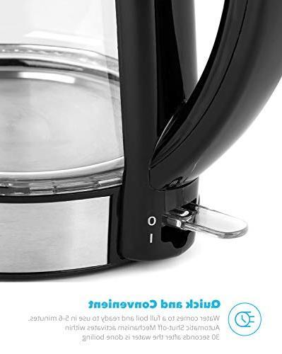 Zeppoli Glass Kettle Boiling and Steel Finish Hot Water Kettle – Hot Water Dispenser Kettle, Pot Heater