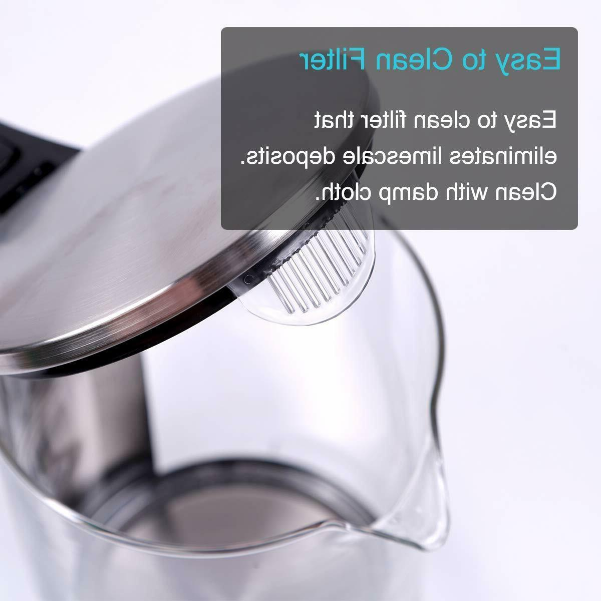Electric Kettle Glass Tea Kettle LED Fast 1.5L