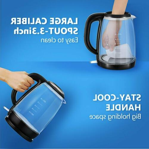 1.8L Electric Glass Coffee Tea Boiler Pot Fast Boiling