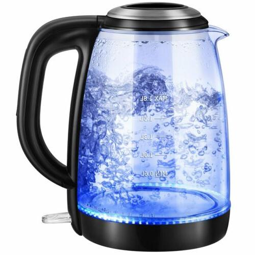 1.8L Electric Kettle Glass Coffee Hot Water Boiler Warm Tea