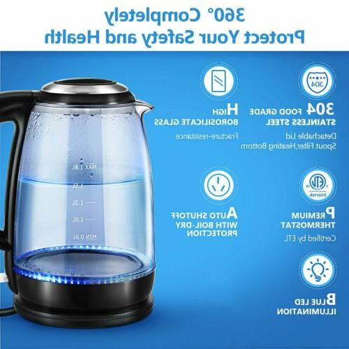 1.8L Stainless Kettle Water Boiling W/ LED