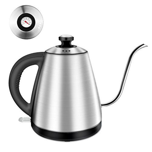 Electric Kettle for Coffee Built-in Thermometer, Auto Shut 1.0L
