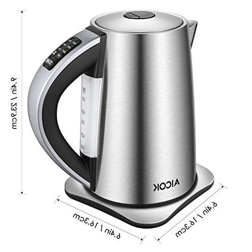 Aicok Kettle Variable Temperature Kettle, Stainless Steel Water 1500W Auto Shut Off Water Boiler,