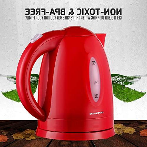 Ovente 1.7L Fast-Heating Boiler, Auto Boil-Dry Protection, LED Light Indicator, Red