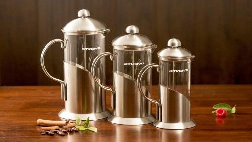 Ovente French Coffee Tea Maker, High-Grade Steel, Nickel Brushed, Heat-Resistant Glass, 20 , Elegant Design, FREE Measuring