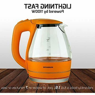 Ovente Glass Tea Coffee Kettle Water Boiler Pot
