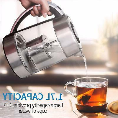 glass electric water kettle 1 7l w