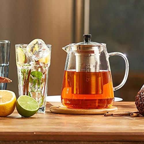 Glass Infuser - Loose Leaf Tea Safe Clear Tea - Tea for Blooming, Flowering, E-Book