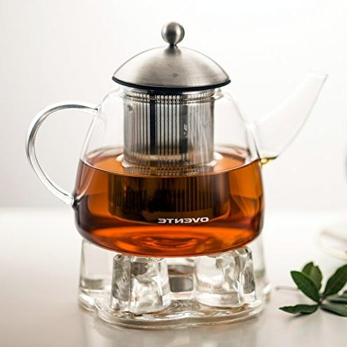Ovente Teapot, oz, with Steel Mesh Borosilicate Teapot Warmer