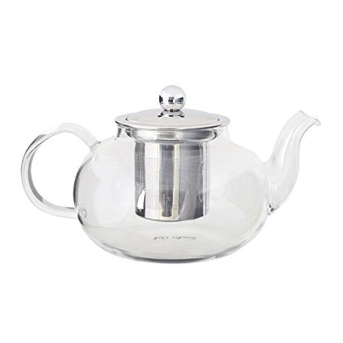 Glass Teapot Infuser - Steel Strainer Lid and Blooming Tea Strong Borosilicate Clear Tea 700 ml / Ounces by Foodie