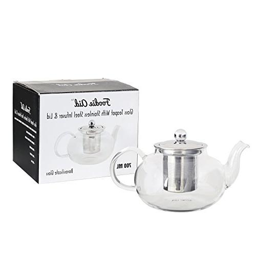 Infuser - Removable Stainless Steel Lid for Loose and Blooming Strong Tea Pot ml / Ounces by Foodie