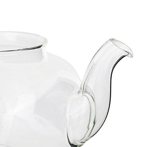 Glass Kettle with Infuser - Removable Steel Steeper and Lid and Strong Borosilicate Tea - ml 24 Ounces by