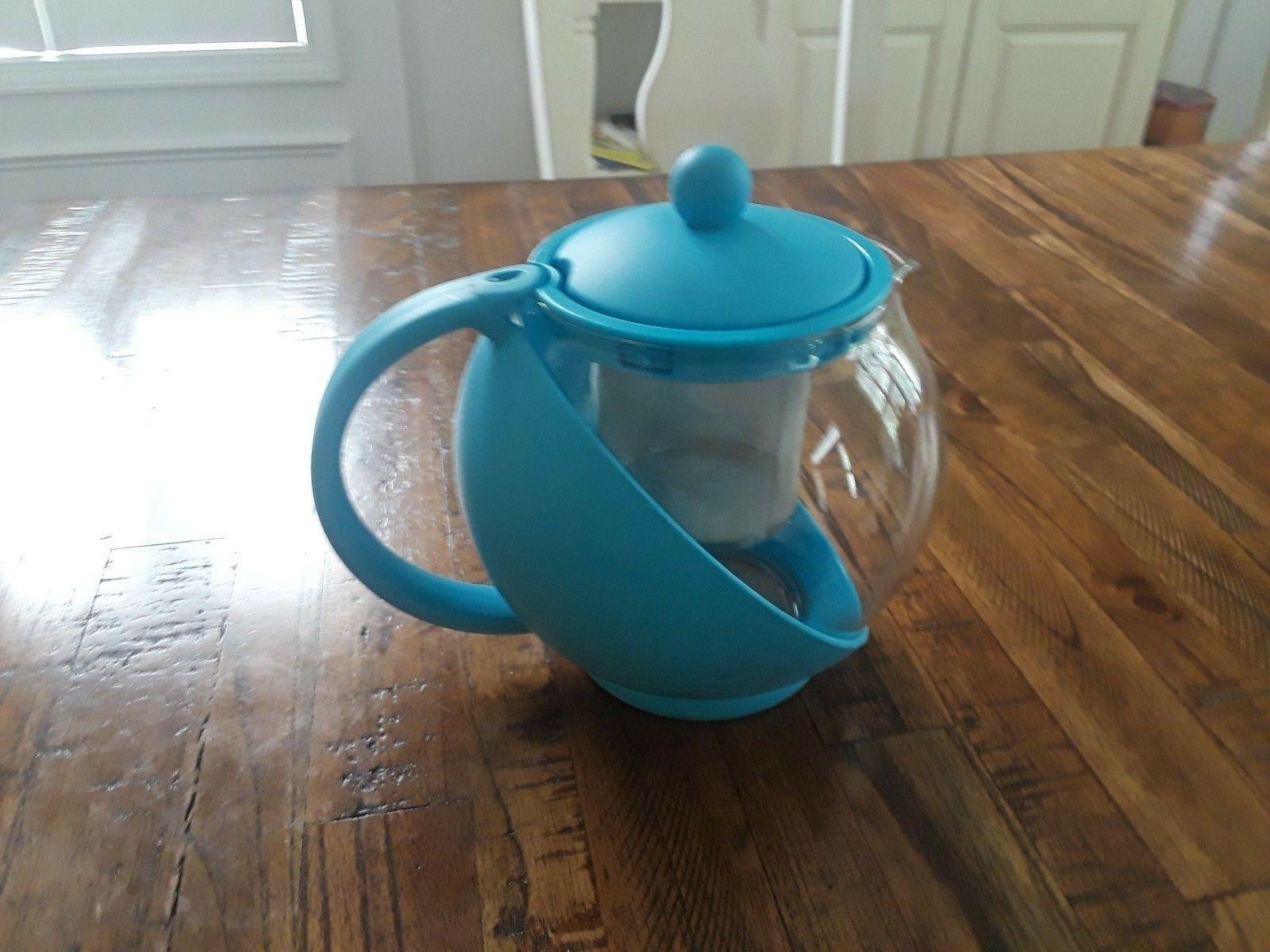 Glass Teapot Personal Kettle QVC 48 Ounces Green Brand