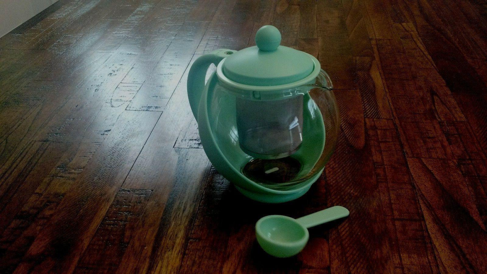 Glass Kettle QVC 48 Blue Brown Green