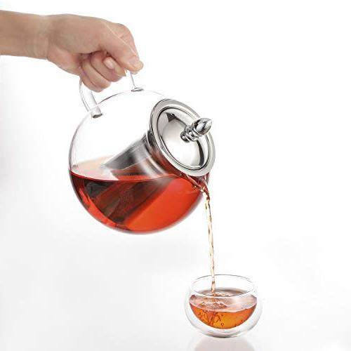 Hiware Glass Removable Infuser, and Loose Pot, Microwavable Safe Tea Pot Tea
