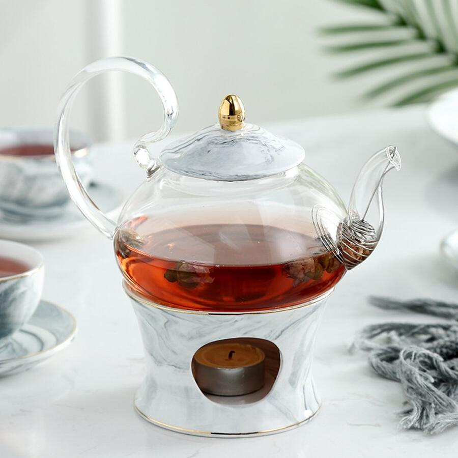 MUZITY Glass With <font><b>Ceramic</b></font> Teapot Marble Design Tool With Strainer