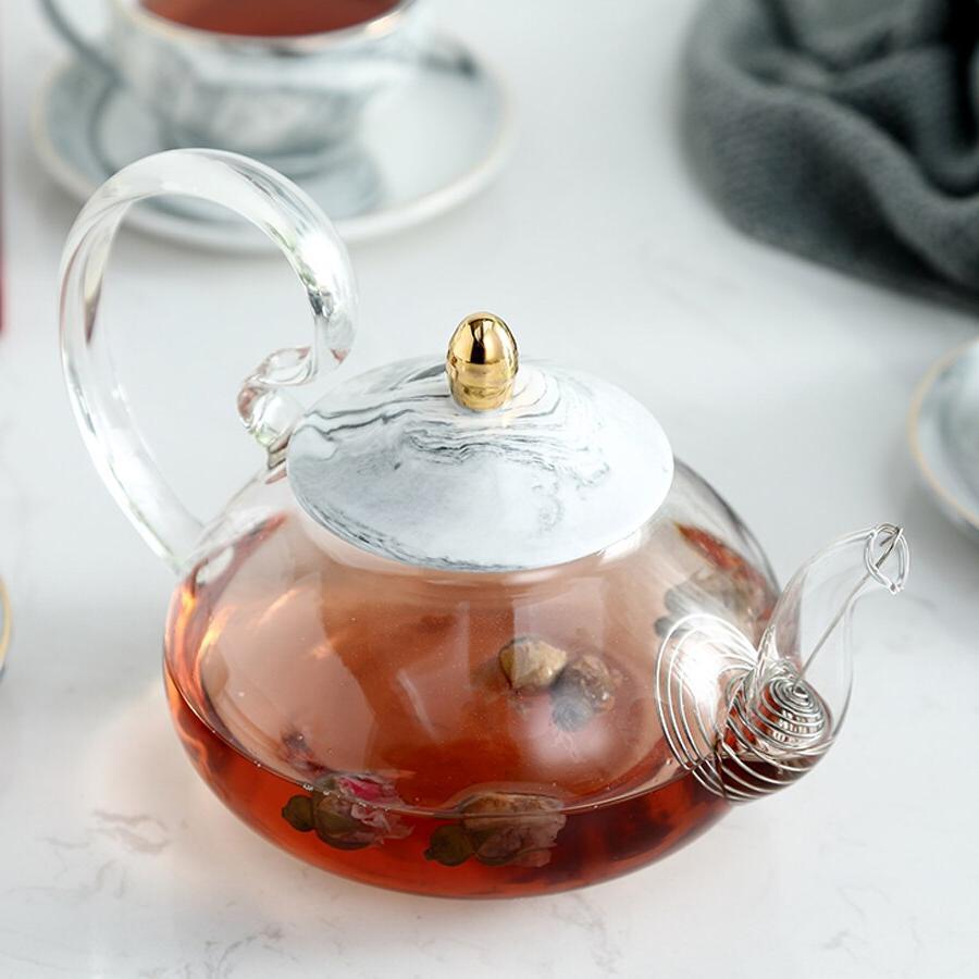 MUZITY Glass Teapot <font><b>Ceramic</b></font> Teapot Base Marble Tool <font><b>Kettle</b></font> With Strainer And