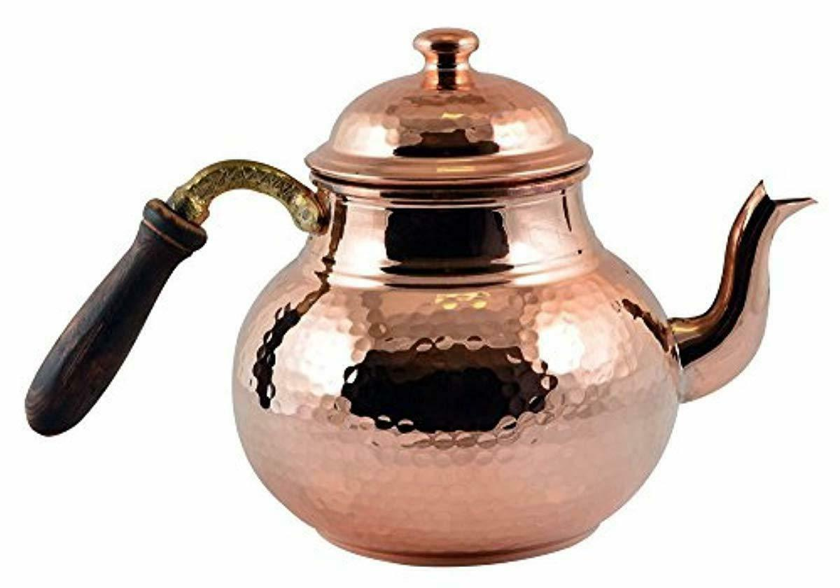CopperBull Hammered Thickest Copper Tea Kettle Stovetop Teapot,28 Oz