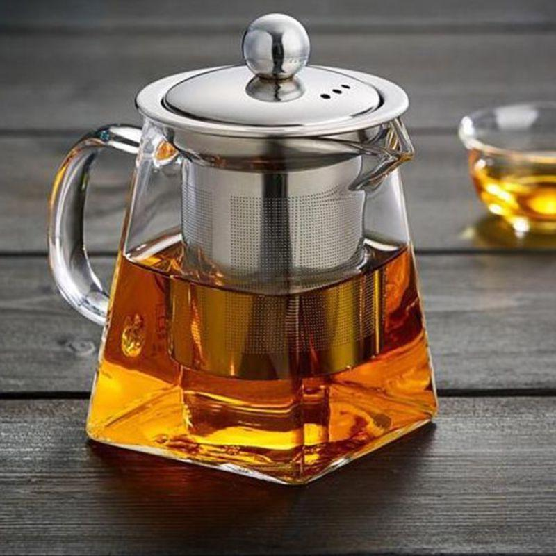 heat resistant glass teapot with strainer filter