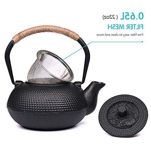 TOWA Tea Kettle Iron Teapot Steel Infuser Black