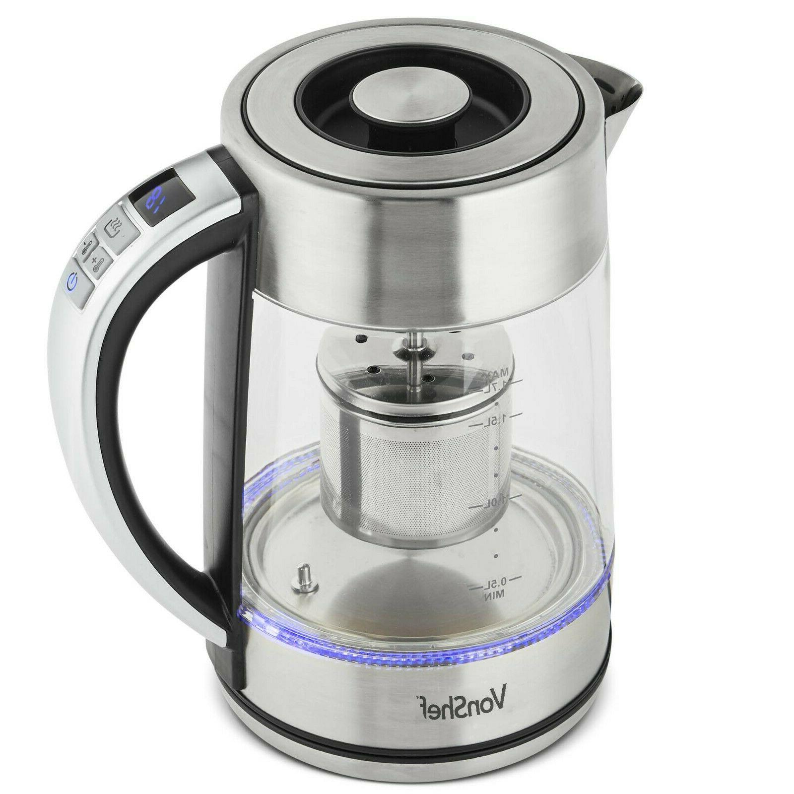 kettle variable temperature 1 7l tea infuser