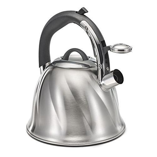 Polder Whistling Tea Kettle, Stainless Steel, 3-Ply Base Heats Fast