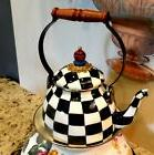 MACKENZIE-CHILDS ,COURTLY CHECK 2  QT. ENAMEL TEA KETTLE,NEW