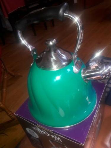 Mr Green Mr Coffee Coffee 92114.01 Alderton 2.3 Quart Stainless Steel Whistling Tea Kettle