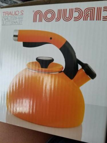 new 2 qt whistling teakettle orange stain