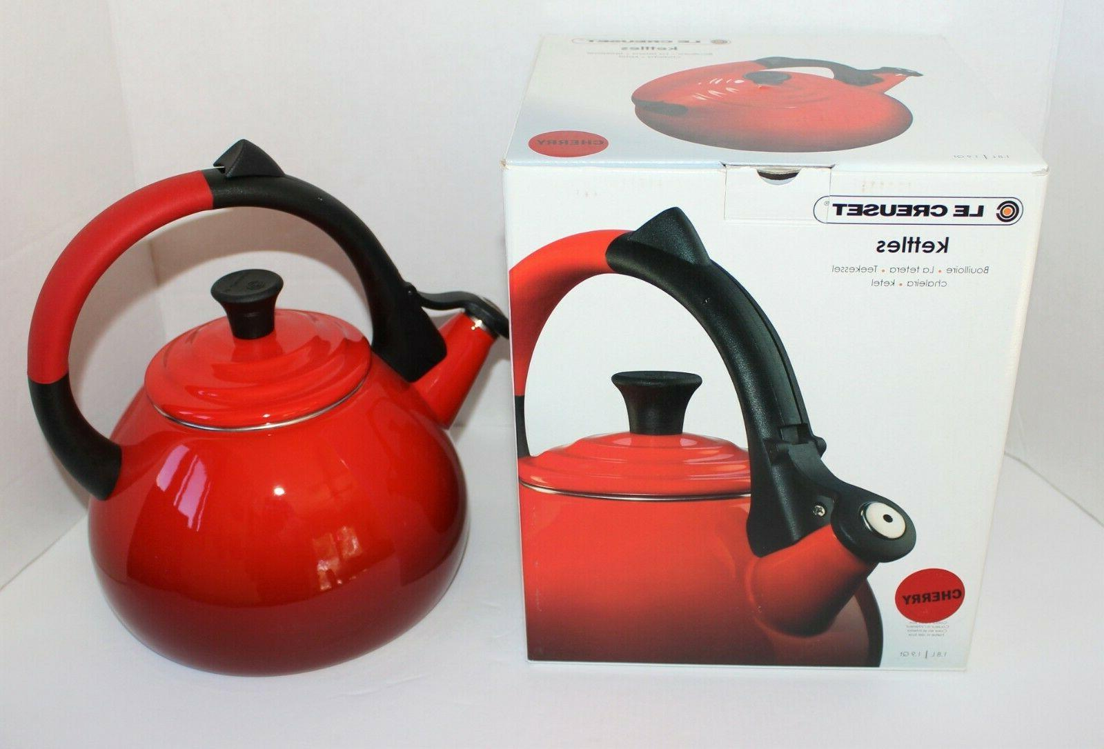 New Le Creuset Cherry Red Oolong Enamel Steel Tea WHISTLING