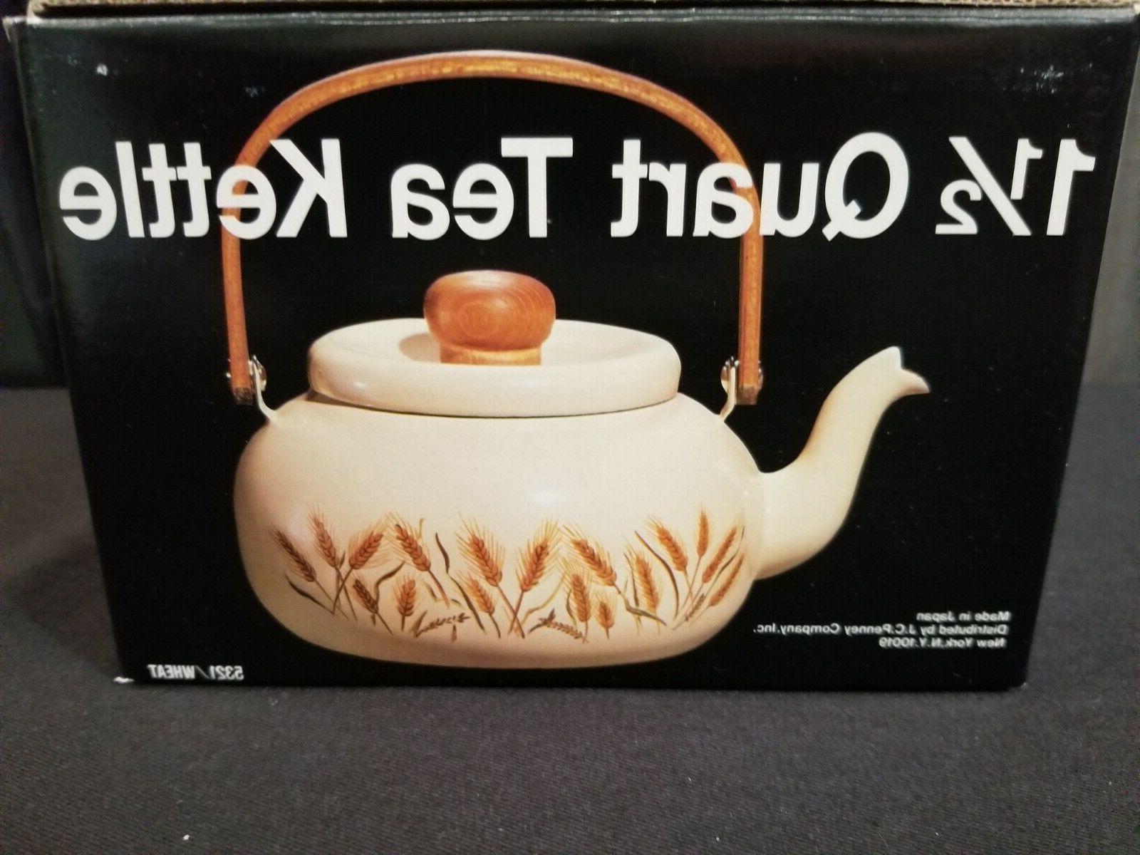 New, 1-1/2-Qt Tea Kettle w/ Wheat Pattern From J.C. Penny's #5321