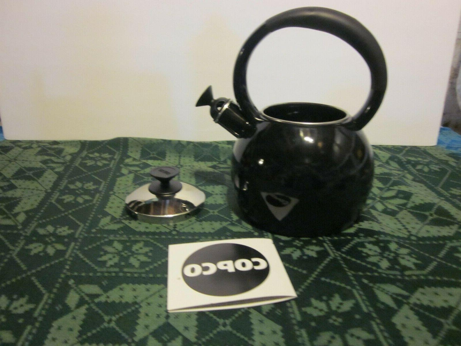 NIB KETTLE COPCO TEAPOT BLACK CUP RESIST IN BOX