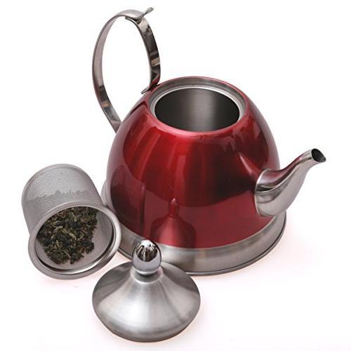 Creative Nobili-Tea Qt. Steel Kettle with Infuser Basket, Metallic Cranberry Color