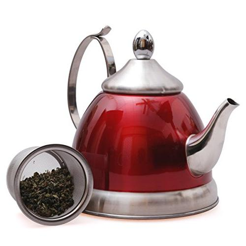 Creative Home Nobili-Tea 1.0 Qt. Stainless Steel Kettle Removable Basket,