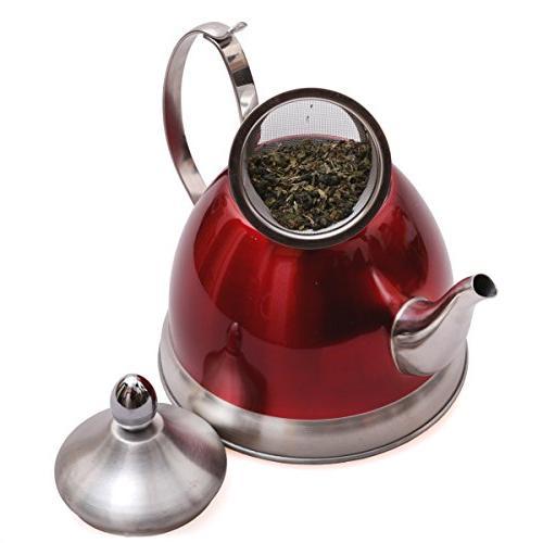 Creative Home Nobili-Tea 1.0 Qt. Steel Tea Kettle Basket, Metallic Cranberry
