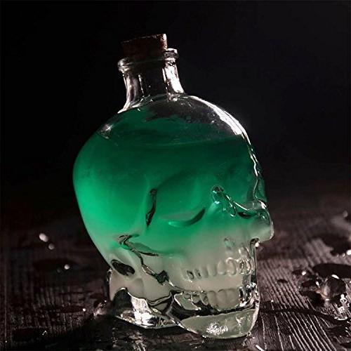 ✅Skull Bottle Christmas Party,Skull Decanter, Creative Bottle, Bottle Glass,Whiskey Glass Ounces-Alcohol Related