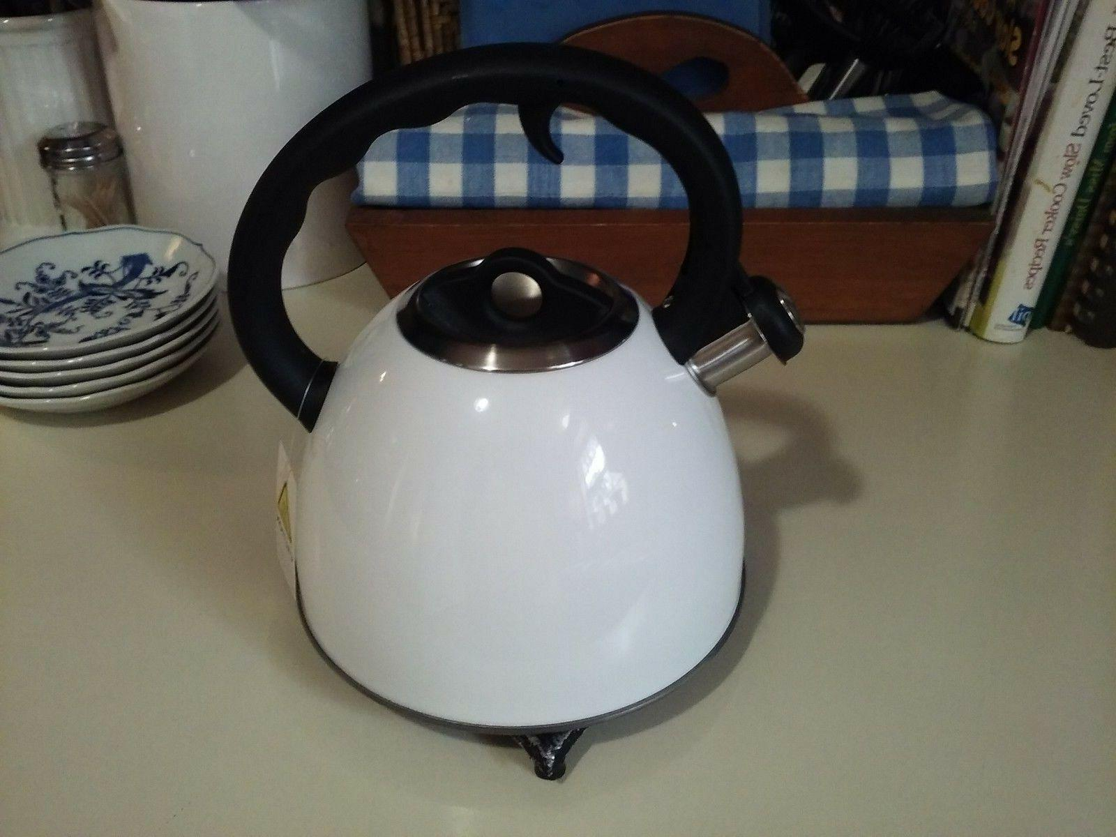 VREMI, PINKIES UP WHISTLING TEA KETTLE, 2 COLORS: WHITE OR B