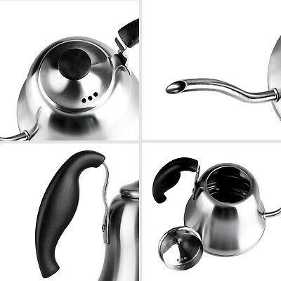 Chefbar Pour Kettle Tea Gooseneck Coffee Kettle Brushed