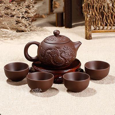 Purple Clay Kung Fu Teapot Chinese Porcelain Yixing Zisha <font><b>Tea</b></font> Pot Fu <font><b>Tea</b></font> Cup Handmade Dragon