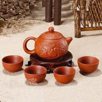 Purple Clay Teapot 150ml Chinese Yixing Zisha <font><b>Tea</b></font> + Cups Kung Fu <font><b>Tea</b></font> Cup Dragon <font><b>Ceramic</b></font> <font><b>Kettle</b></font>