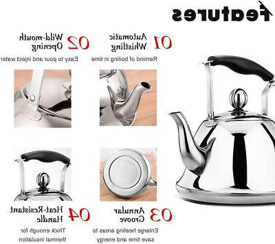 Rainbow Whistling Tea Kettle Stainless Steel Stovetop Sturdy 2