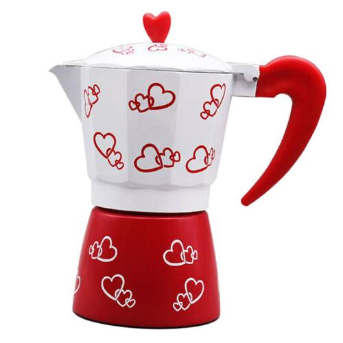Red Heart Moka Induction Stove Top Espresso Maker 3 Cup Coff