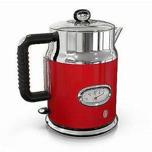 retro style 1 7l electric kettle red