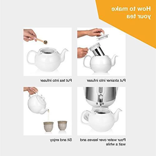Saki Tea with Porcelain Tea-Pot, Infuser, Warm Mode Water tasty Black, Turkish, Russian, Persian
