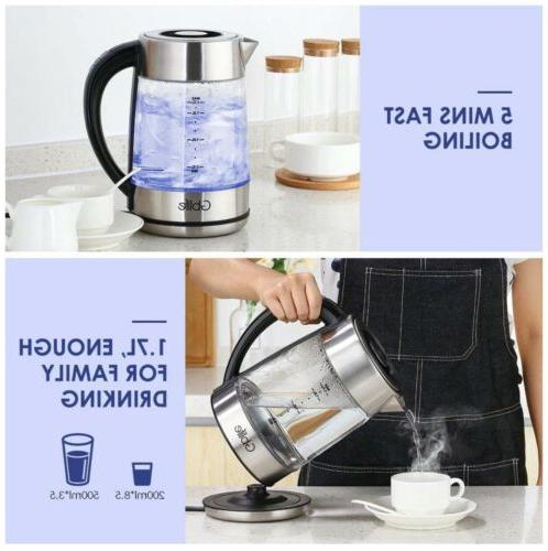 Smart Glass Electric Tea Pot Steel CordLess Temperature
