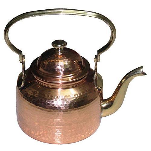 solid copper hammered tea kettle