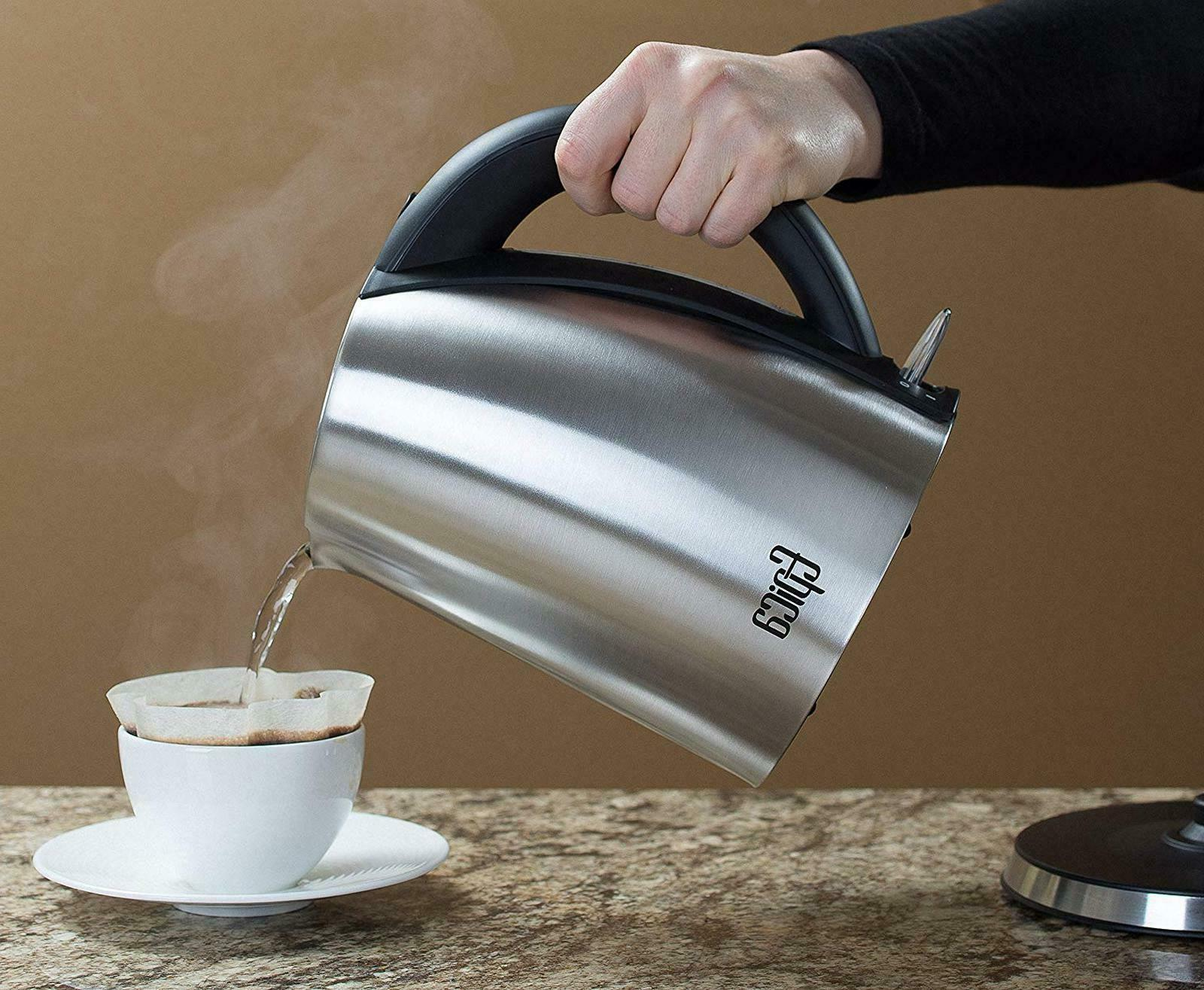 Stainless Steel Electric Kettle Coffee Hot Water Maker Cordless L